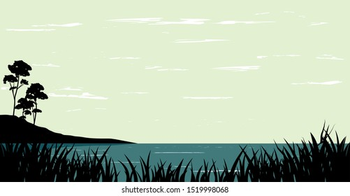 vector nature landscape, illustration of calm river and trees beside the shore