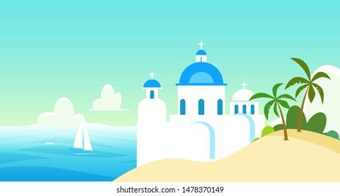 Vector Nature landscape illustration of Greece with Church near the coast, Blue domes under blue sunny sky, marine illustration.