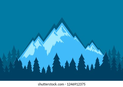 Vector Nature Landscape wallpaper with mountains in blur color. Illustration of travel and tourism in wild nature.