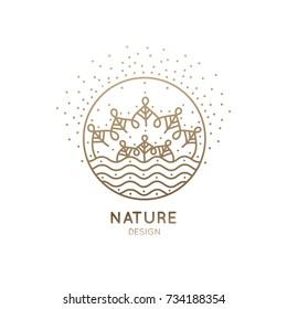 Vector nature logo. Flower mandala or landscape. Trees and river. Linear emblem for design of natural product, flower shop, cosmetics, ecology concepts, holistic medicine, health, spa, yoga Center.
