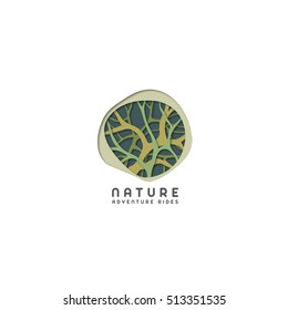 Vector nature logo. Natural tree organic cut paper style illustration. Eco label icon template.