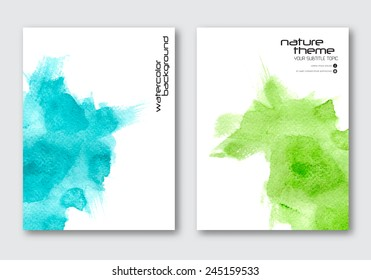 Vector nature poster templates. Hand drawn Watercolor stain background. Abstract background for card, brochure, banner, web design.