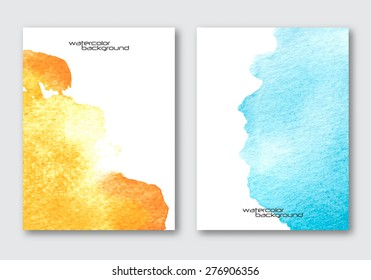 Vector nature posters template set. Hand drawn Watercolor stain background. Abstract background for card, brochure, banner design.