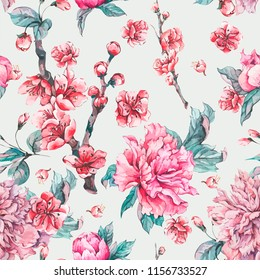 Vector nature seamless pattern, pink flowers blooming peonies, Floral decoration, Hand painted illustration