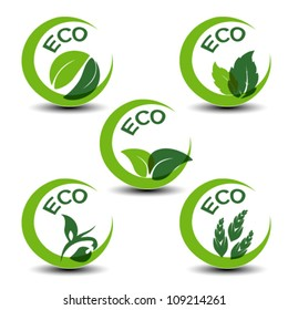 Vector nature symbols with leaf - eco icons