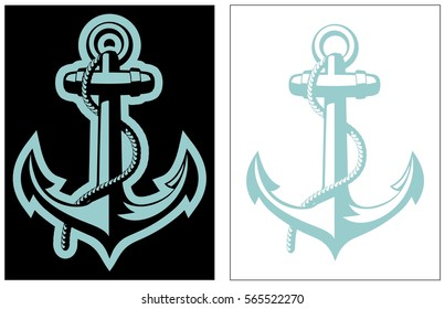 Vector Nautical Anchor isolated on black and white