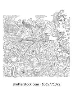 Vector nautical batik paint contour thin line. Mermaid, island, pearl, fish, sea shell, octopus. Black and white doodle. Hand drawn sketch artwork. Adults Coloring book vertical page, Batik
