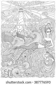 Vector nautical contour thin line illustration. Mermaid, island, lighthouse, pearl, fish, sea shell, octopus. Black and white. Hand drawn abstract sketch artwork. Adults coloring book vertical page