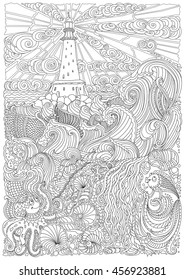 Vector nautical contour thin line illustration. Ocean waves, island, lighthouse, pearl, fish, sea shell, octopus. Black and white. Hand drawn abstract sketch artwork.Adults coloring book vertical page