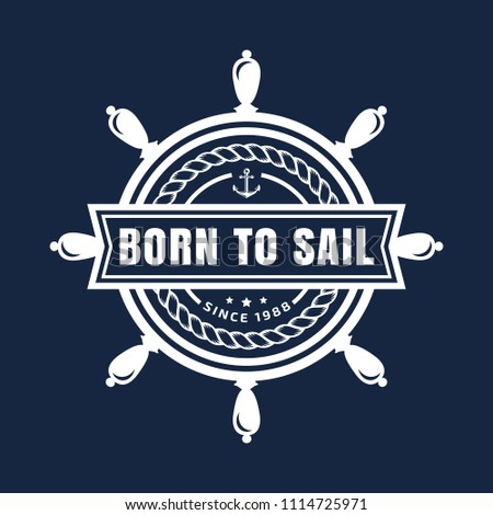 d80fea47c Elegant design for t-shirt, marine label, company logo or sea poster. White  element isolated on navy blue background. - Vector
