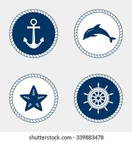 Vector of Nautical and marine icons, design element. Vector nautical elements. Sea leisure sport. Symbol of sailors, sail, cruise and sea. Set of marine icons. Rope swirls, logos and badges.