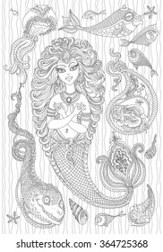Vector nautical paisley illustration with silver grey mermaid, pearl, fish, anchor, sea shell, pirate with parrot on the hat, on a white background . Black line artwork. Coloring book page