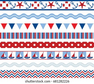 Vector nautical seamless borders with anchor, starfish, buoy, flags, ship and rope. Nautical seamless borders vector illustration.