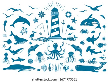Vector nautical set with lighthouse and sea animals. Whales, dolphins, fish, seagulls, corals and water plants isolated on white. Big set of vector illustrations with marine creatures. Vector EPS 10