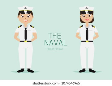 Vector Naval Officer with Navy Uniform,Cartoon Character design.
