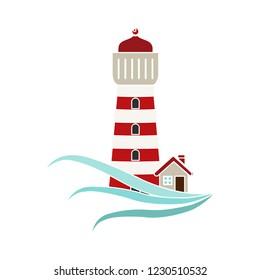 vector navigation sea tower isolated icon - sailing maritime sign symbol . sailing searchlight tower illustration vector