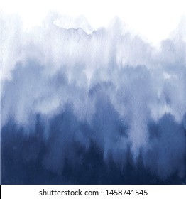 Vector navy blue watercolour. Abstract template. Effect flowing paint on white background.