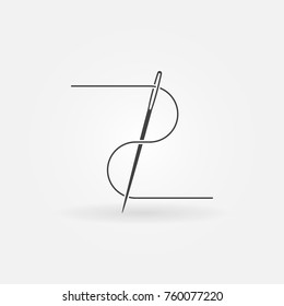 Vector needle and thread concept icon or symbol