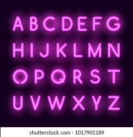 Vector neon alphabet. Realistic glowing pink letters