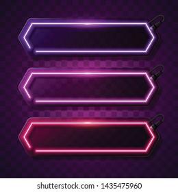 Vector of neon banner. Purple frame design