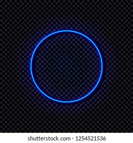 Vector Neon Blue Circle, Glowing Frame, Shine Effect Isolated on Dark Transparent Background.