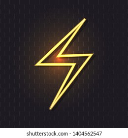 Vector Neon Bright Yelow Lightning Icon with Shadow, Luminescent Sign Isolated on Dark Brick Wall Background.