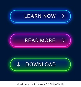 Vector neon button for web design, app, game and interface. Neon buttons, elements for web design.