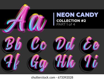 Vector Neon Character Typeset. Glowing Letters on Dark Background. Glitch Effect. Shining Candy Alphabet. Hand Drawn Retro Font for Summer Poster, Night Club Banner, Sale Banner.