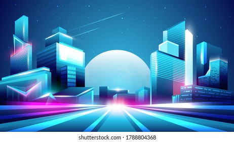 Vector neon colorful gradient illustration of night city with moon on background.
