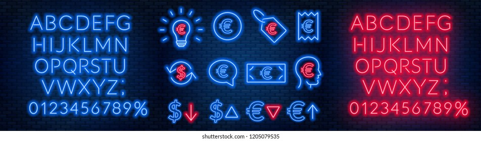 Vector neon financial signs on dark background. Signs of currency exchange, currency appreciation and depreciation, prices, business ideas, speech bubble and others. Neon alphabets with numbers.
