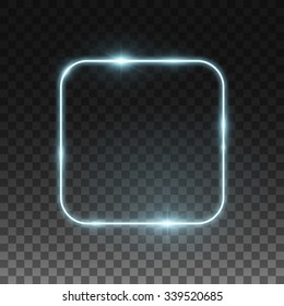 Vector neon frame. Shining square banner. Isolated on black transparent background. Vector illustration, eps 10.