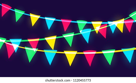 Vector neon glowing pary flags of different vivid colors. Red, blue, green and yellow triangular papers hanging on a colored ropes. Trendy overlay style.