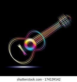 Vector neon guitar