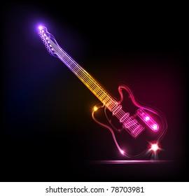 Vector neon guitar, grunge music