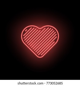 Vector Neon Heart. Neon Silhouette of Red Heart formed by Contour and Parallel Lines, Isolated on the Black Background with Backlight