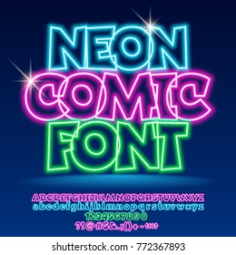 Vector neon light up Comic Font. Set of glowing Alphabet letters, Numbers and Punctuation Symbols
