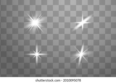 Vector Neon Light Effect. White glowing light explodes .Bright Star. Special line flare light effects for design and decor. Blue background.