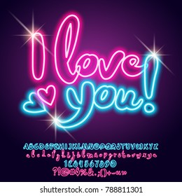 Vector neon light poster I love you with hearts. Set of bright shiny Alphabet Letters, Numbers and Punctuation Symbols