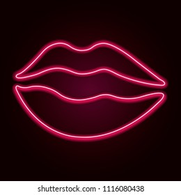 Vector neon lips. Retro template for store signs, posters, banners, cards for Valentine's day.