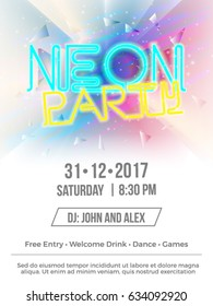 Vector Neon Party Abstract Background for Banner, Poster, Brochure and Flyer for Eve, Party, Club and Celebration.