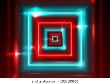 Vector Neon Rectangle Frame. Shining Square Shape with Vibrant Electric Blue and Red Colors. Led Light Effect. Laser Tag Playground. Abstract Bright Minimal Background with Perspective.