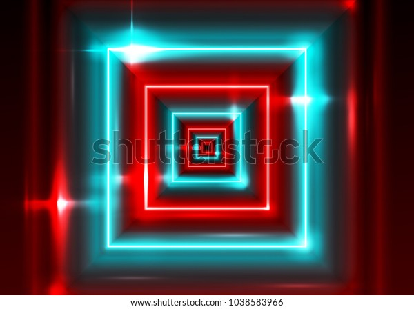 a6454307 Vector Neon Rectangle Frame. Shining Square Shape with Vibrant Electric Blue  and Red Colors.