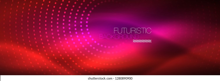 Vector neon red dotted abstract background, modern circle lines on red backdrop