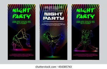 Vector neon set of flyers for the night party. Template invitation to a disco. Glowing silhouettes of people dancing.