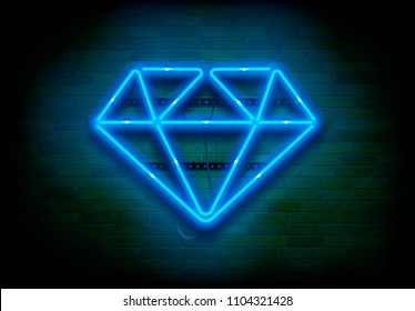 "Vector neon sign ""Blue Diamond"" on dark brick wall"