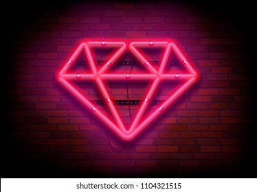 "Vector neon sign ""Pink Diamond"" on dark brick wall"