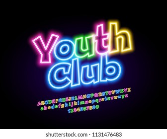 Vector neon sign Youth Club. Glowing colorful Font. Electric bright light Alphabet Letters, Numbers and Symbols