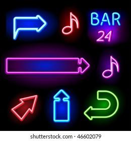 vector neon signs set