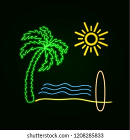 Vector Neon Surfing Illustration: Glowing Palm, Ocean Waves, Sand Beach, Sufr Board and Sun.
