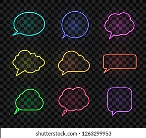 Vector Neon Talk Bubbles Set, Different Colors Speech Boxes, Design Elements Collection Isolated on Dark Transparent Background.